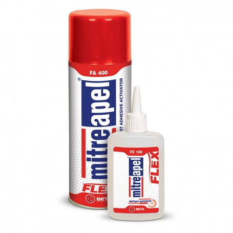 Mitreapel Universal Flex Bicomponent Adhesive 100g + Activator Spray, 400ml