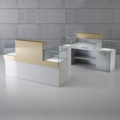 QUADRATUM showcase with desktop and storage cabinets