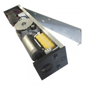 Automatic swing door operator with spring and battery